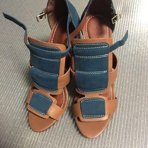 Elizabeth and James Colorblock Leather Sandals